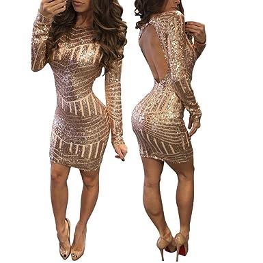 436e9f6e5ed926 YOUBan Damen Kleider Mode mit Langen Ärmeln Kleid Pailletten Leak Back Kleid  Frauen Sexy Kleid Rucksack