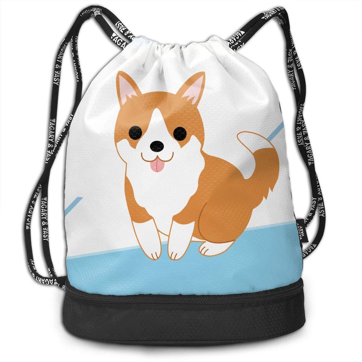 HUOPR5Q Cute Puppy Drawstring Backpack Sport Gym Sack Shoulder Bulk Bag Dance Bag for School Travel