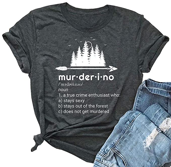 6fdeebcc7 Amazon.com: Women's Murderino Arrow Graphic Cute T Shirt Letter Printed  Short Sleeve Tees Casual O-Neck Tops: Clothing