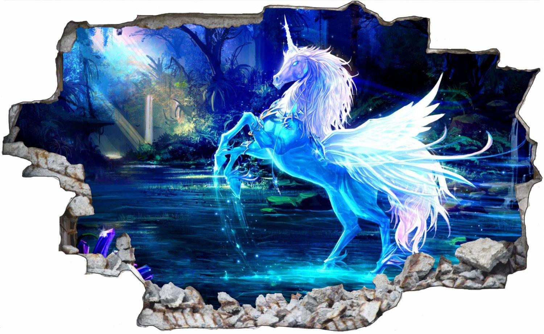 Blaues Einhorn Wandtattoo Wandsticker Wandaufkleber C0630 Größe 120 cm x 180 cm