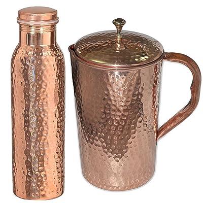 DakshCraft ® Copper Joint Flacon martelé et pichet de cuivre pur