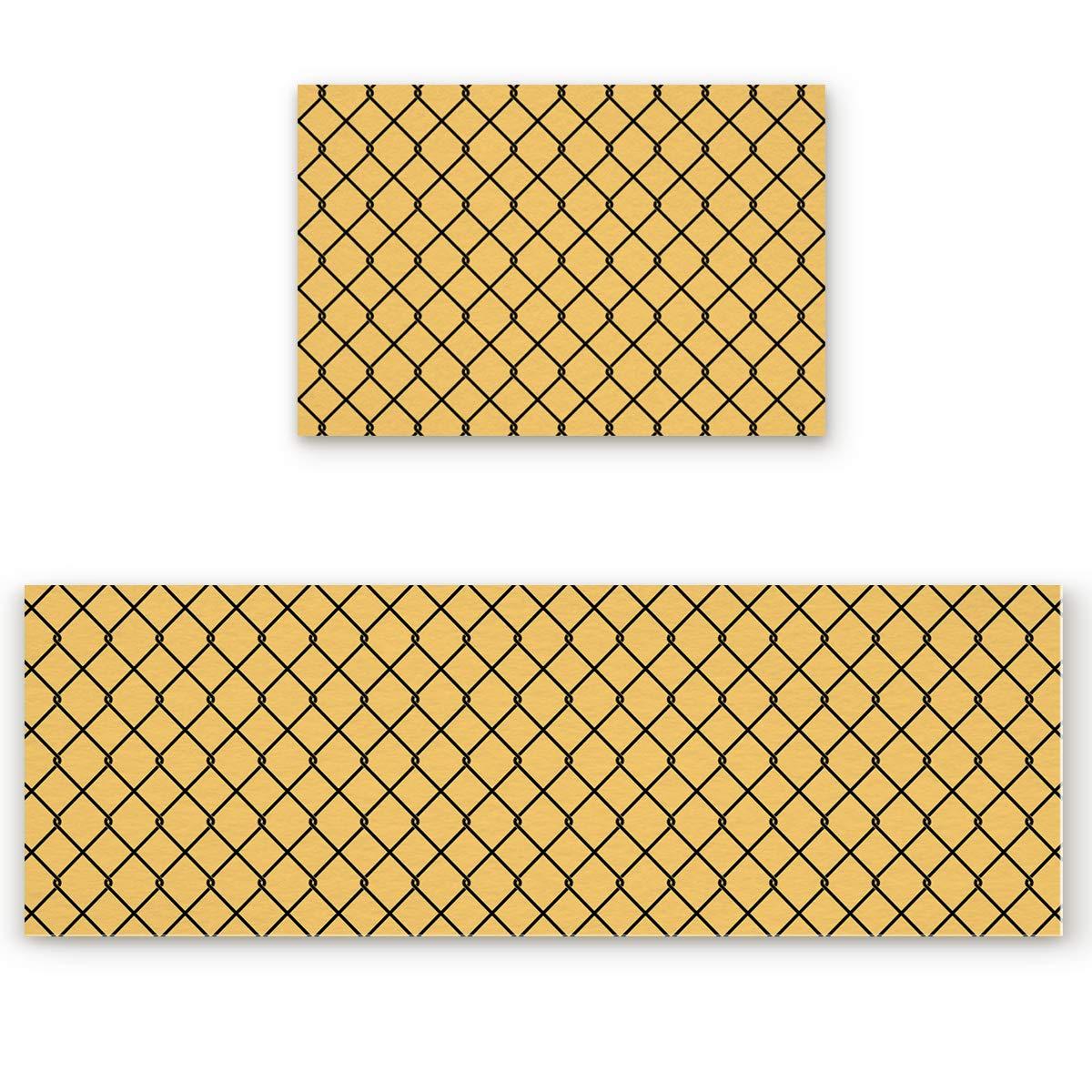 Geometry-032san1437 23.6 x35.4 +23.6 x70.9  Savannan 2 Piece Non-Slip Kitchen Bathroom Entrance Mat Absorbent Durable Floor Doormat Runner Rug Set - Pineapple