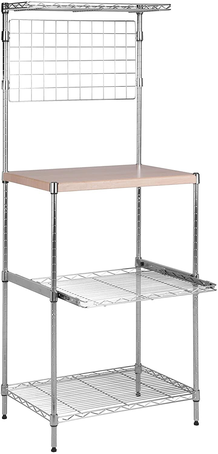 Honey-Can-Do SHF-04347 Microwave Bakers Rack with Adjustable Shelf, Chrome, 17L x 23W x 59H: Home & Kitchen