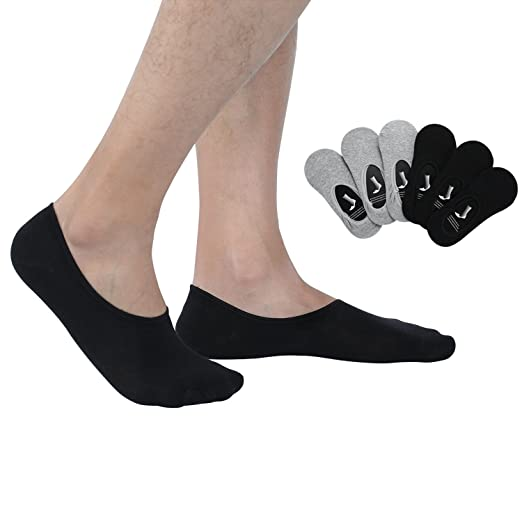 1fa37838eea5 Joulli Mens No Show Socks Non-Slip Low Cut Casual Cotton Loafer Boat Liners  6 Pairs Black Gray at Amazon Men's Clothing store: