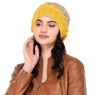 VR Designers Women s Woolen Crisscross Pattern Handknitted Pom Pom Cap  (Beige and Yellow 527d65714d2