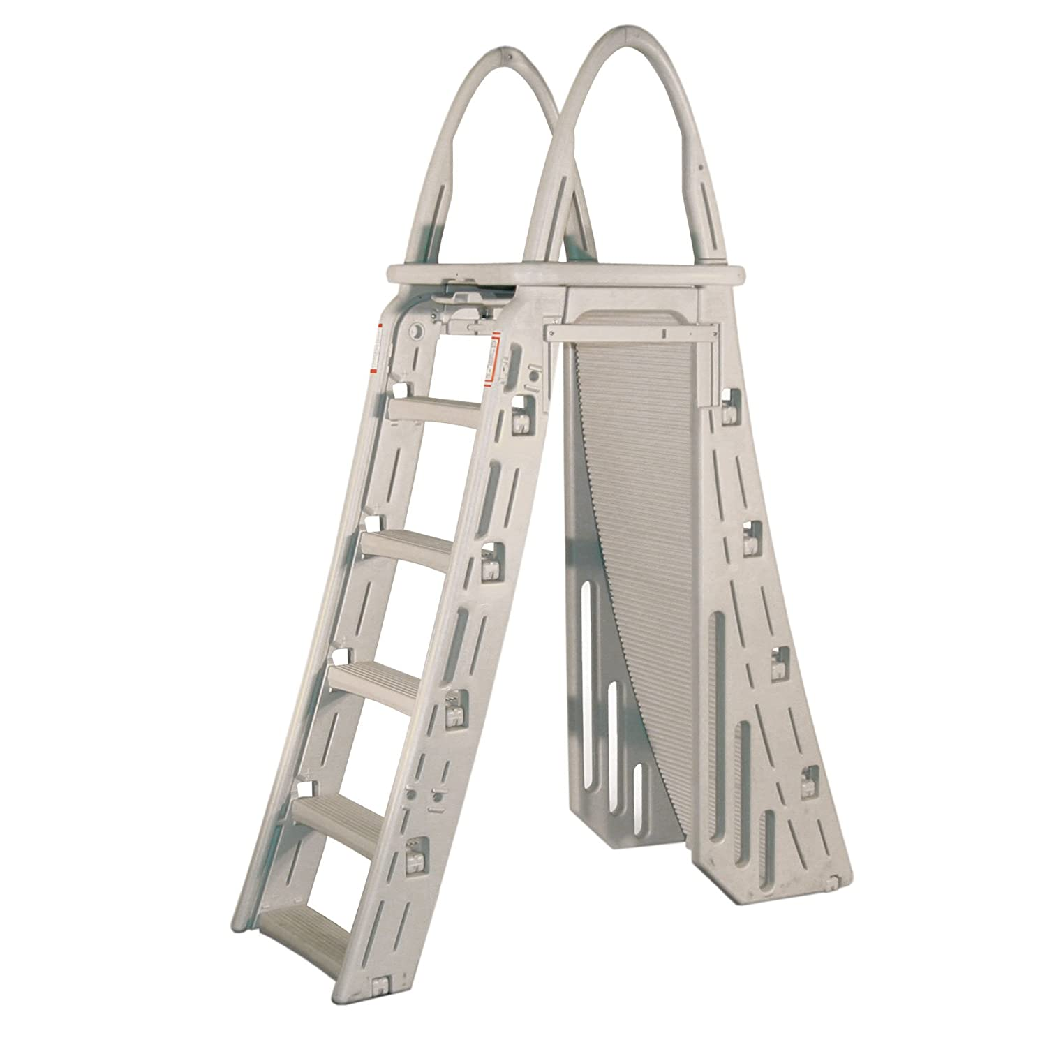 Above Ground Pool Ladders-Confer Plastics A-frame 7200 Above ground Adjustable pool Roll guard Safety Ladder