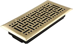 Accord Ventilation AMFRPBB410 Floor Register with Wicker Design, 4-Inch x 10-Inch(Duct Opening Measurements), Polished Brass