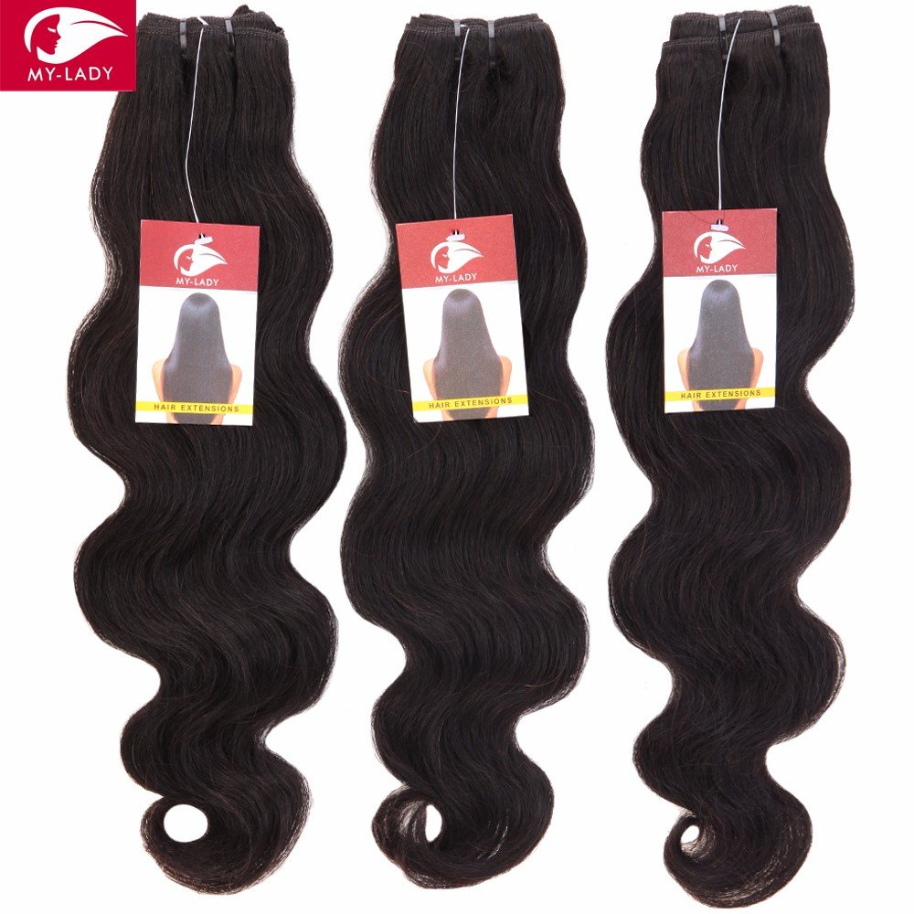 My-Lady® Tissage Bresilien en Lot - Extensions Capillaires de Cheveux Humains Naturels Vierges Ondulé Body Wave Noir Naturel - 3 Tissages + 1 Top Lace Closure (101214+10lace closure)