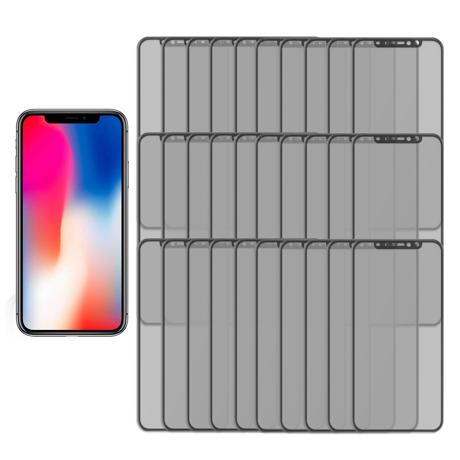 30PK - Private and Personal Protection View [3D Full Coverage] Screen Protector for Apple iPhone X, iPhone 10, Strong, Tough, and Reistant Anti Spy 3D Full Cover Tempered Glass by TortugaArmor