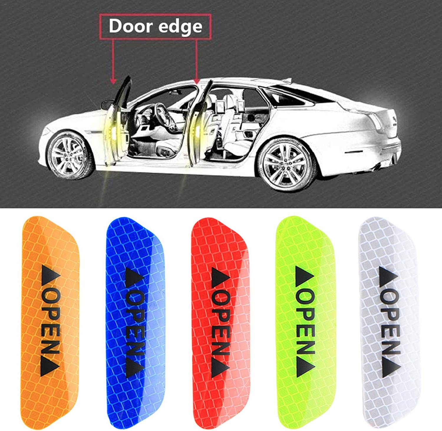 4pcs Car Door Edge Reflective Strip Anti-collision Safety Warning Stickers t