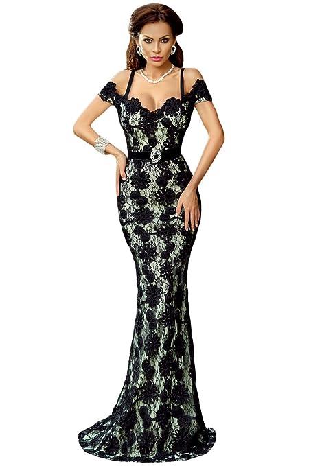 Gabriela Boutique - Vestido largo para mujer (de encaje, vestido de noche, de