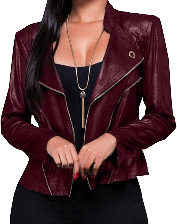 Doris Batchelor Trendy Womens Stylish Long Sleeve Zipper Faux Pu Leather Short Moto Jacket