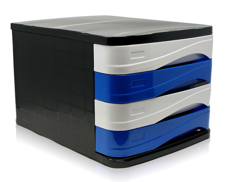 Ablage mit 4 Fächern | Dokumentenablage | Schubladenbox mit 4 Schubladen | in verschiedenen Farben (Grau/Transparent) Ark