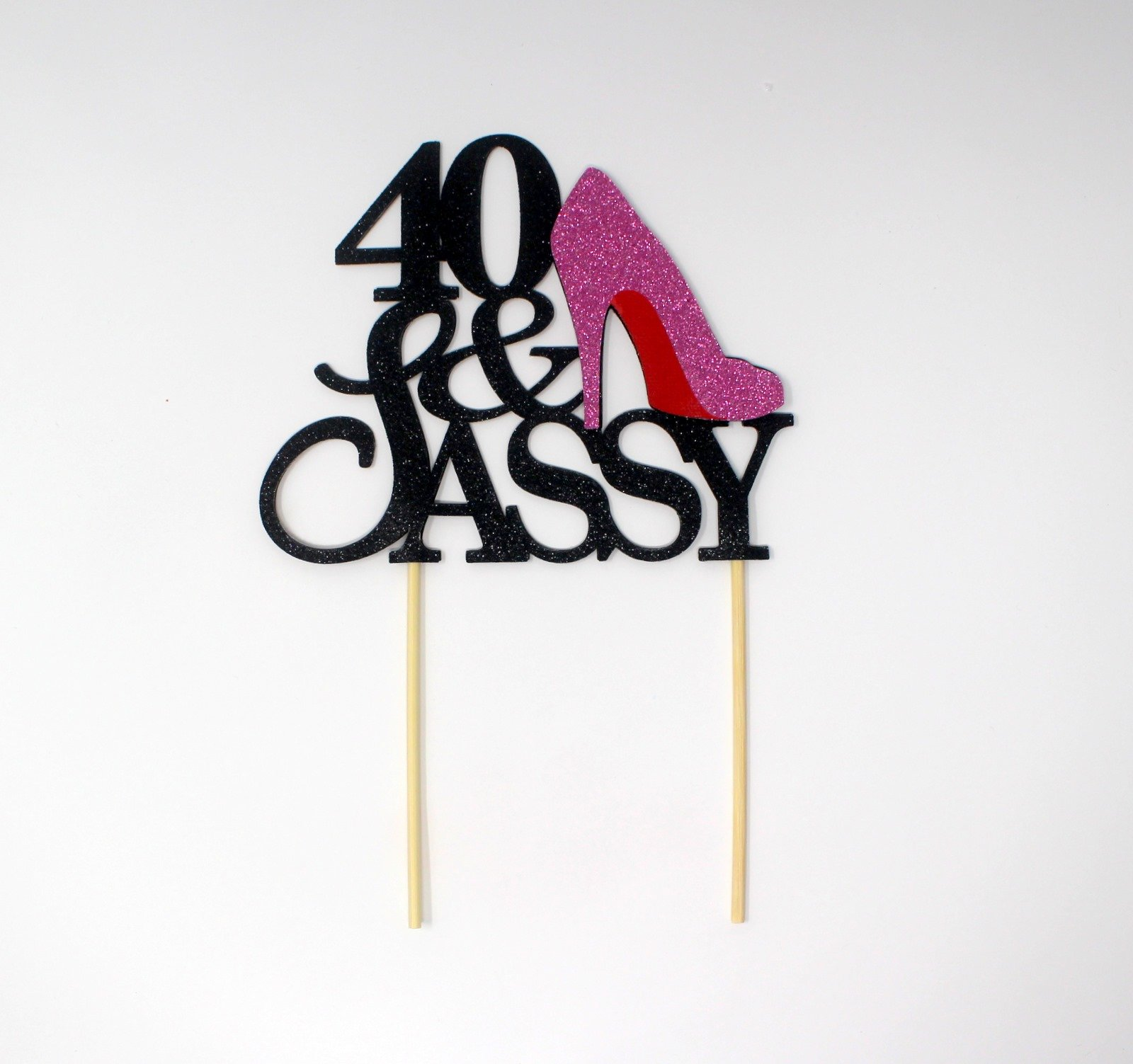 All About Details CAT40SABPI 40 and Sassy Cake Topper (Black and Pink), 6in Wide and 5in Tall with 2-pcs of 4in Wood skewers.