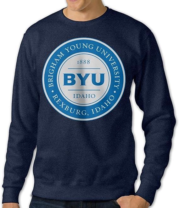 ESSES Brigham Young University BYU Medallion Logo Mens Crew-Neck Sweatshirt Navy