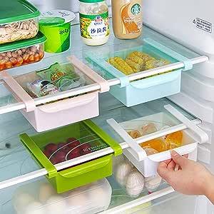 organizador de cocina y ahorro de espacio estante de almacenamiento para congelador 4 Juego de 4 organizadores de caj/ón para nevera refrigerador