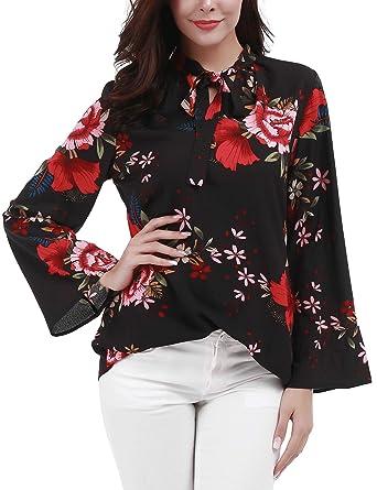 8cdaaeeb3cb733 FISOUL Women Bow Tie V Neck Long Sleeve Floral Print Chiffon Blouse Top  Shirts S-