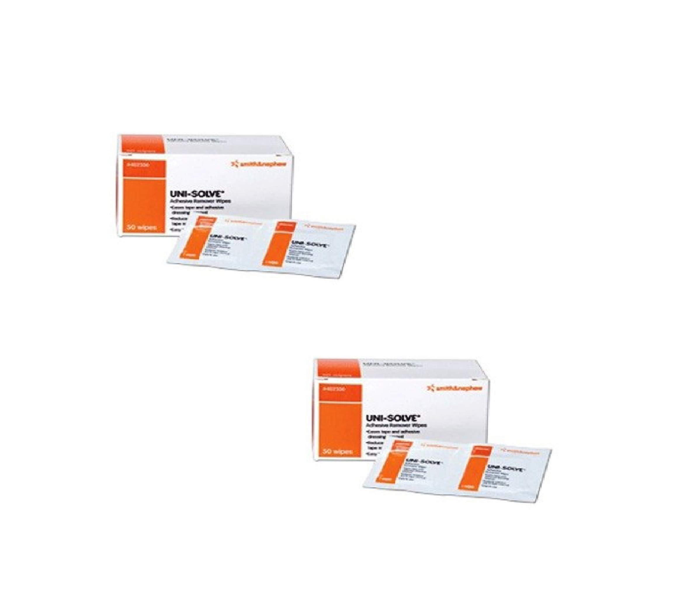Smith & Nephew Uni-Solve Adhesive Remover - Wipes Box of 50 (2 Pack)