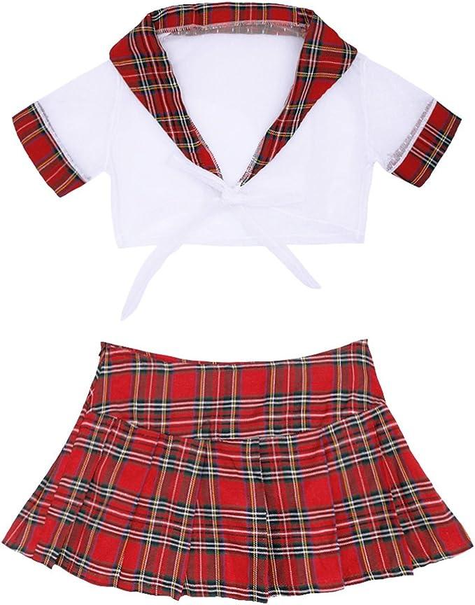 TiaoBug Mujer Uniforme Escolar de Cuadros Escocesos Sexy 2Pcs ...
