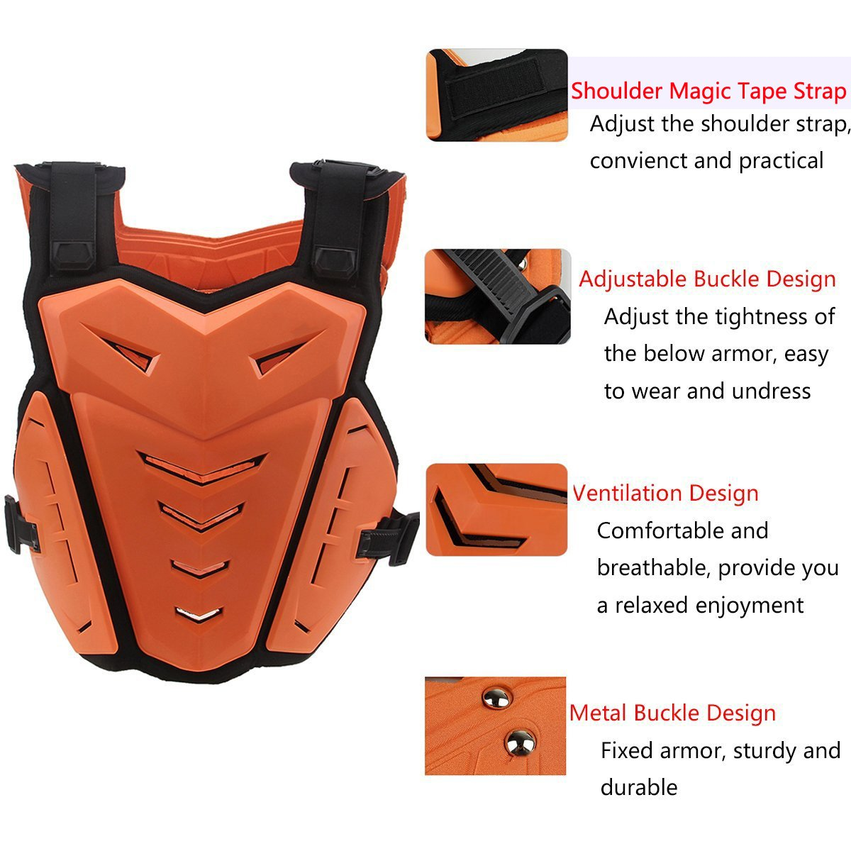 Chest Back Vest Armor Protector for Motocross Riding Skating Skiing Scooter by Possbay (Image #5)