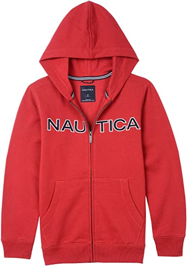 Nautica Boys Sueded Fleece Chest Logo Full Zip Hoodie