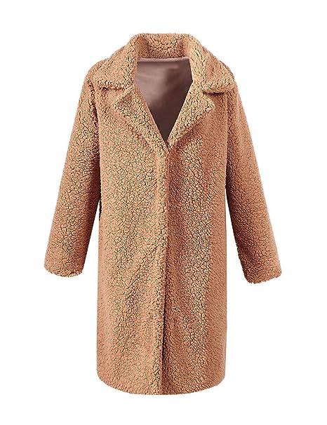 VLUNT Mujer Abrigo de Pelo Chaqueta Fur Coat Invierno Abrigo Sintética de Fox Chaqueta Capa Abrigo