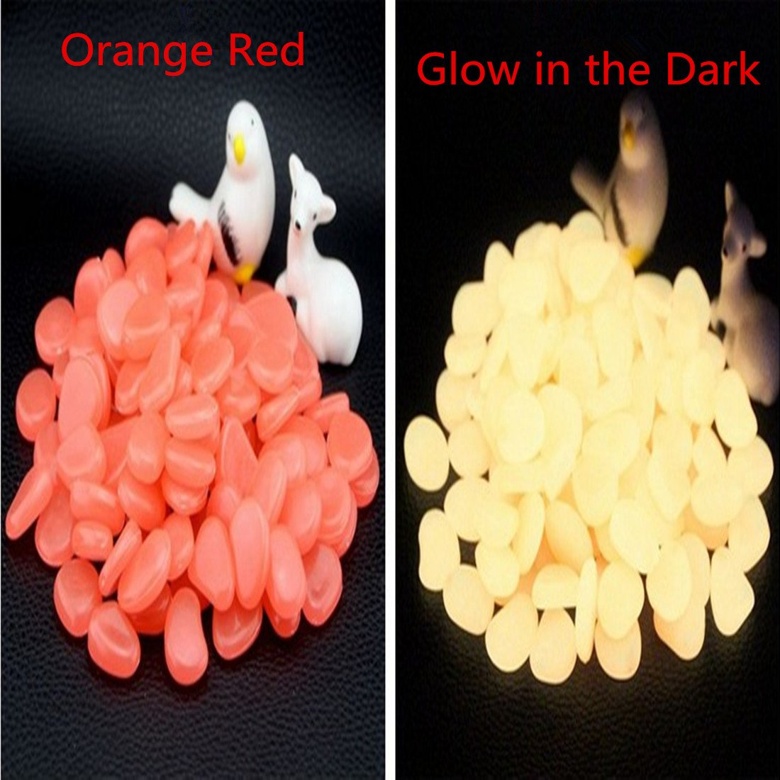 500 Pcs Glow in The Dark StonesGarden Pebbles Rocks for Outdoor Walkway Window Yard Grass and Fish Tank Decoration (orange Red)