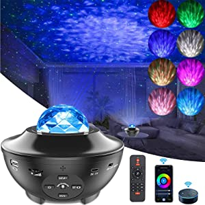 SmartStarProjectorNightLight, LUXONIC Ocean Wave Built-in Bluetooth Speaker Sound Sensor LED Starry Night Projector Lamp with Remote APP ControlledLight for Kids Gift,Christmas, Home Decoration