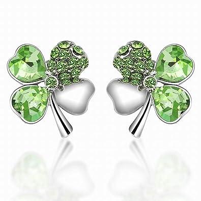 Amazoncom World Pride Lucky Crystal Four Leaf Clover Stud Earrings