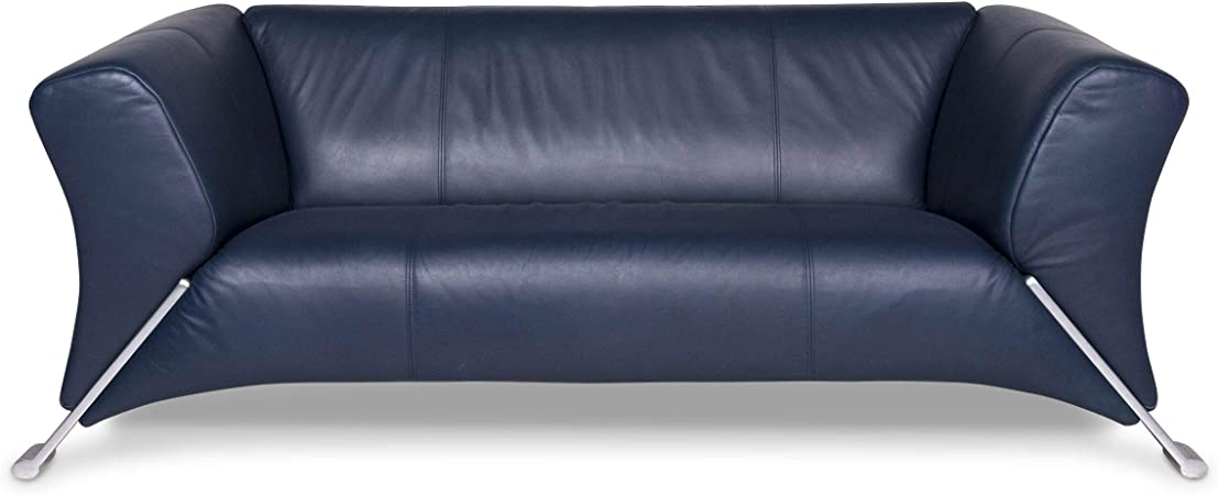 Rolf Benz 322 Designer Leather Sofa Blue Two Seater Couch