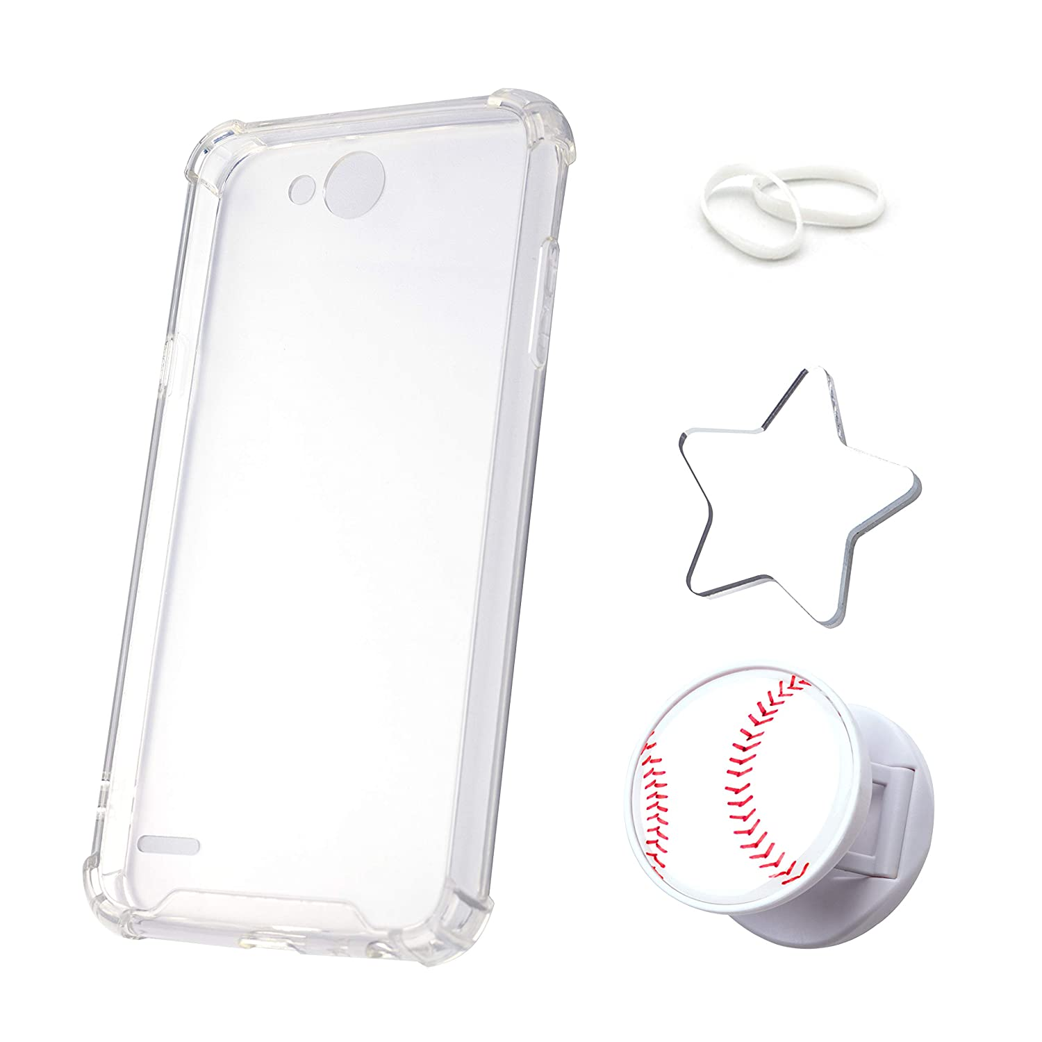 AIR Cushion Case for LG X Power 2, X Charge, Fiesta LTE, Fiesta 2, K10 Power with Poppin Grip Holder and Décor Mirror - Slim Clear Corner Bumper Cover with Flexible TPU and Hard PC Back