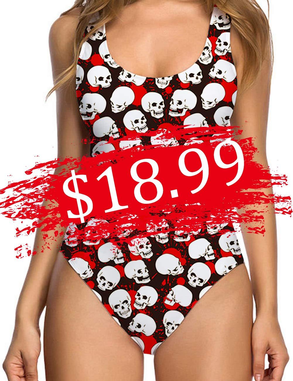 TUONROAD Retro 80s/90s One Piece Swimsuit Bodysuit for Women Ladies Halloween Print White Black Skull Red Blood Skeleton Funny 3D Printed Halter Straps U Neck Backness Padded Swimwear Jumpsuit
