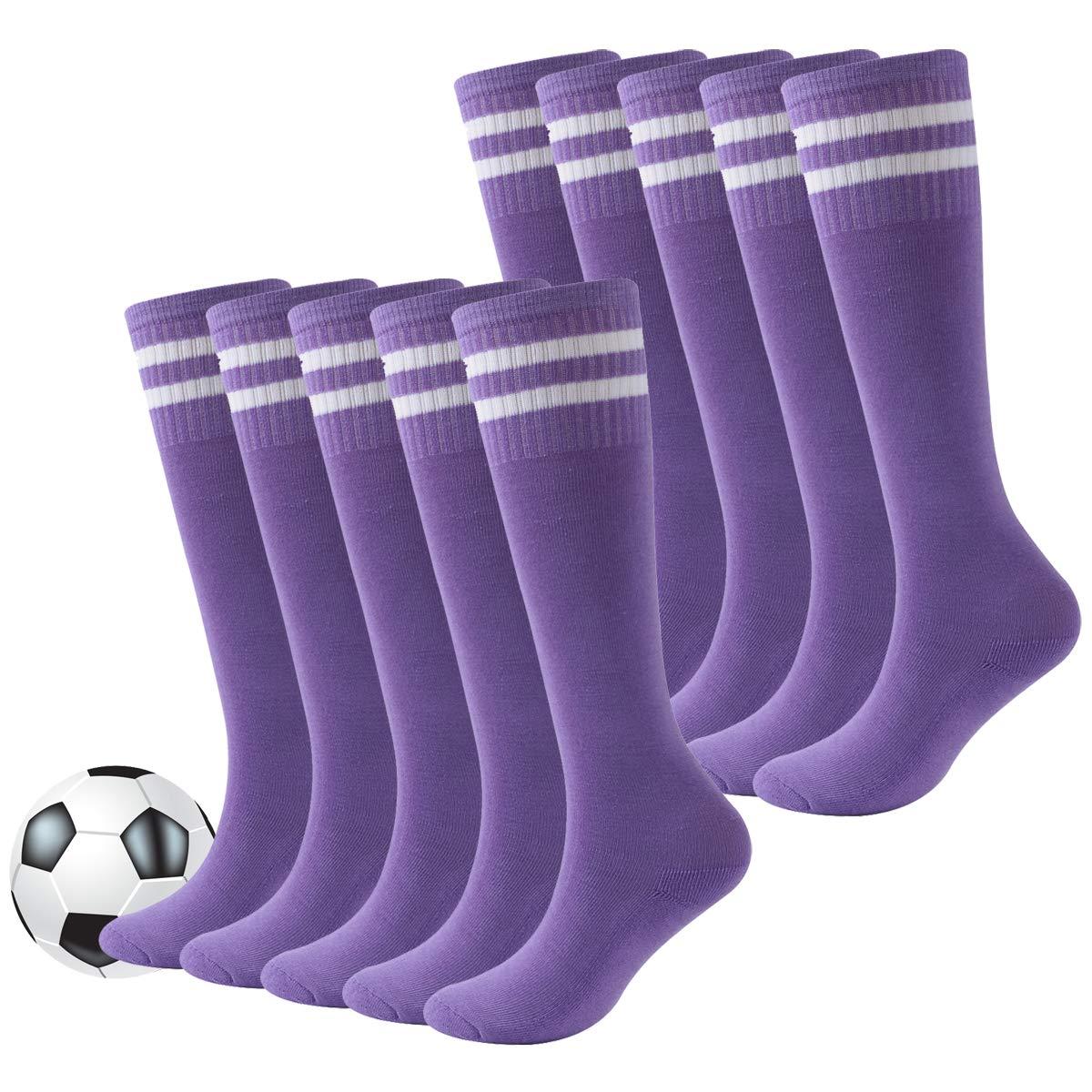 Kids Football Socks,Youth Long Knee High Active Outdoor Sports Soccer Tube Socks Fasoar 10 Pairs Purple by Fasoar