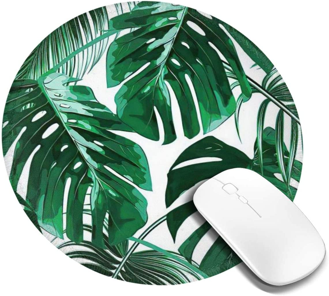 Tropical Green Palm Leaves Round Mouse Pad, Personalized Printed Mouse Mat, Non-Slip Rubber Base Mousepad for Laptop, Computer 7.9x7.9 Inches