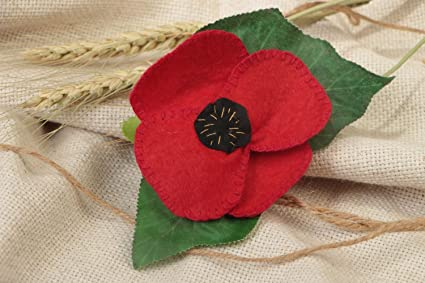 """Red Hand Made Flowers Poppy from Fabric Hair Clip /& Pin Brooch,/""""Handmade/"""" silk"""