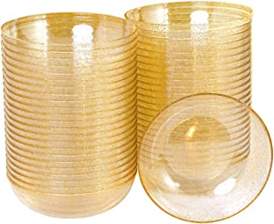 BUCLA 50 pack 12oz Gold Glitter Plastic Bowls-Disposable Crystal Plastic Bowls- Premium Heavy Duty Clear Dessert Bowls for Wedding &Parties