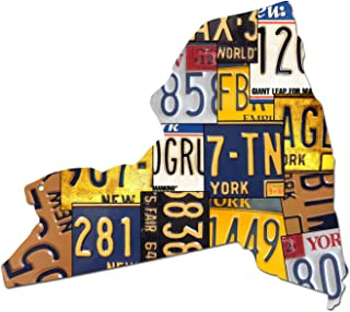 product image for Surf To Summit New York License Plate Dibond Map Sign The Empire State Garage Art Great Gift Man Cave Rustic Sign Birthday Gift Patriotic
