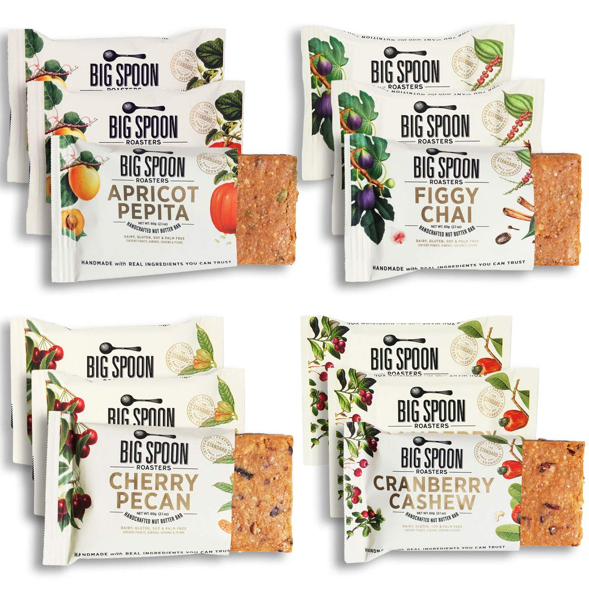 Big Spoon Roasters Nut Butter Bars Variety Pack - Cherry Pecan, Apricot Pepita, Cranberry Cashew & Figgy Chai - High Protein Bars Variety Pack with Non-GMO Pea Protein - 12-Count (3 of Each Flavor) by Big Spoon Roasters