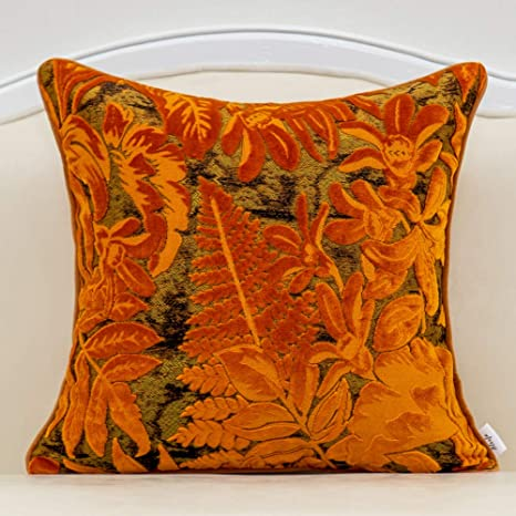 Alerfa 18 X 18 Inch Orange Square Maple Leaf Pillow Embroidery Cut Velvet Cushion Case Luxury Modern Lumbar Throw Pillow Cover Decorative Pillow For Couch Sofa Living Room Bedroom Car Home