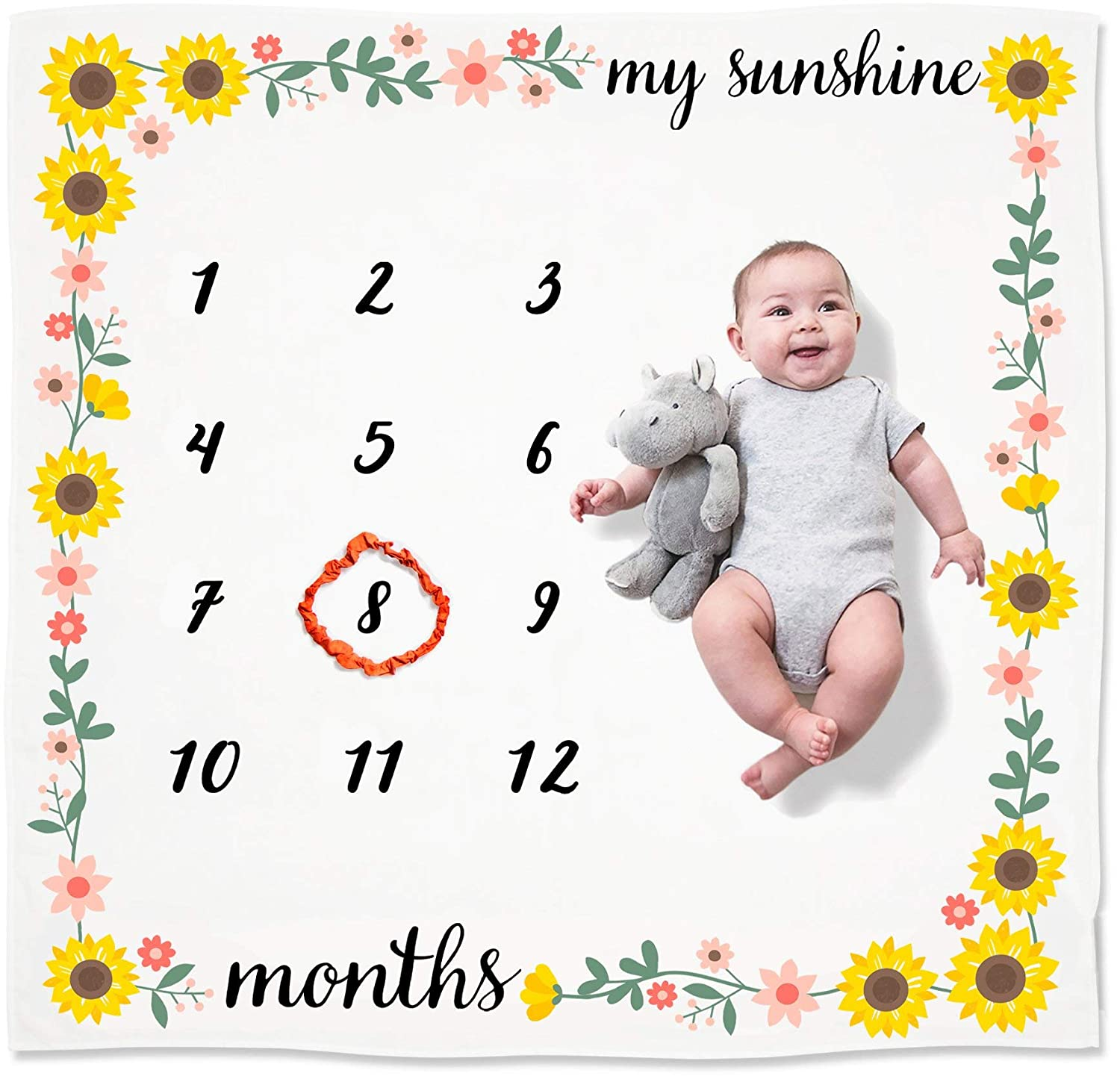 Milestone Growth Blanket yellow flower or your choice of color Flower Monthly Milestone Blanket for Baby Girl Baby Shower Gift