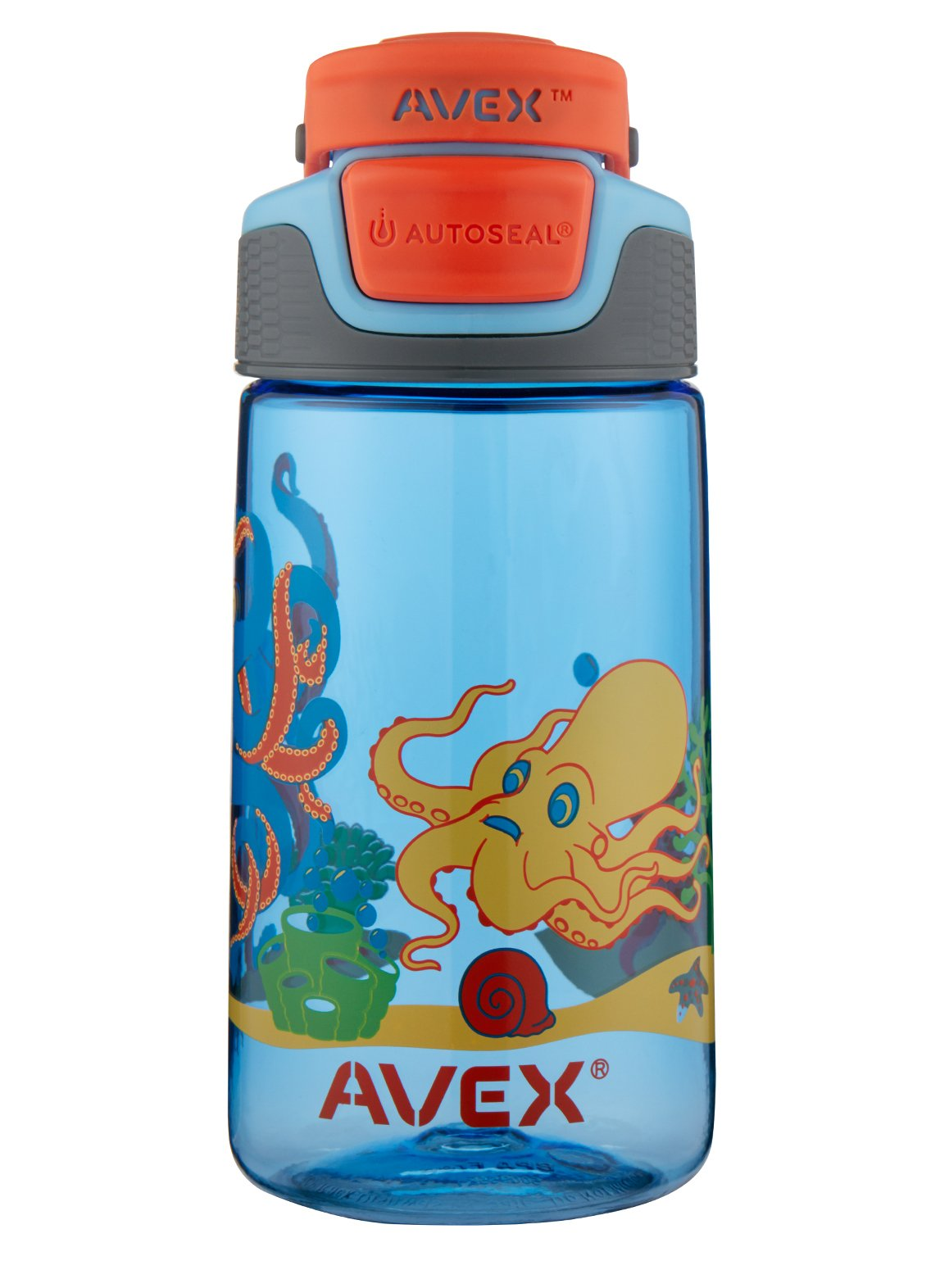 Avex Kids Freeride Octopus Autoseal Water Bottle, Baby Blue, 16 oz