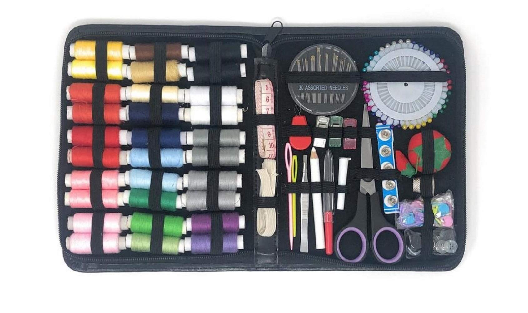 Compact Sewing Kit for Home Travel Camping and Emergency. Best Gift for Adults Kids Girls Beginners. Quality Premium Mini Sew Supplies Set. Expansive Case with 100 Extra Pins and Safety Pins (Large) by Sewing Gear