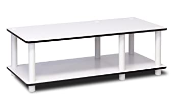 Furinno 11174WH(EX)/WH Just No Tools Mid TV Stand, White W