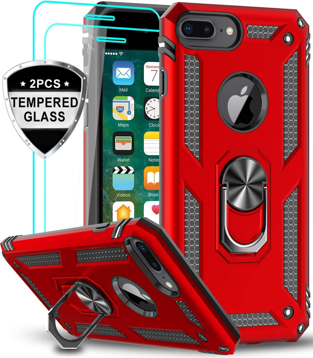 iPhone 8 Plus Case, iPhone 7 Plus Case, iPhone 6 Plus Case with Tempered Glass Screen Protector [2Pack], LeYi Military Grade Phone Case with Rotating Holder Kickstand for Apple iPhone 6s Plus, Red