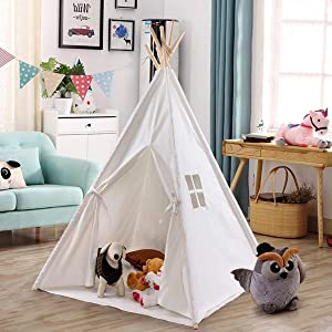 Costzon Kids Play Tent Indian Tent 5' Cotton Canvas Baby Children Playhut with Carry Bag, Indoor and Outdoor Kid Teepee Tent for Toddlers Boys and Girls (White)