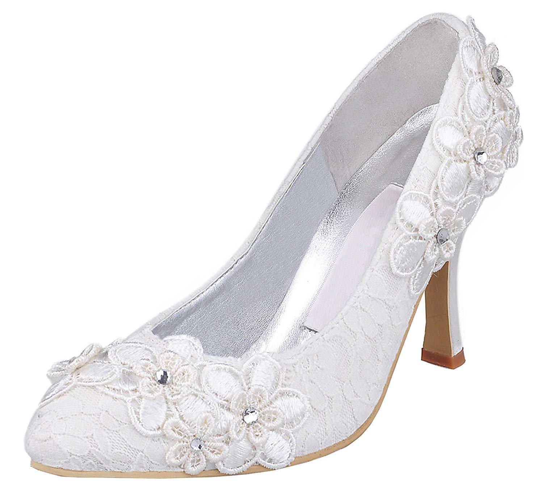 ZHRUI MZ620 Frauen MZ620 Blaumen-Stilvolle weiße Spitze-Brauthochzeits-Abend-Partei pumpt Schuhe Großbritannien 7.5 (Farbe   - Größe   -)