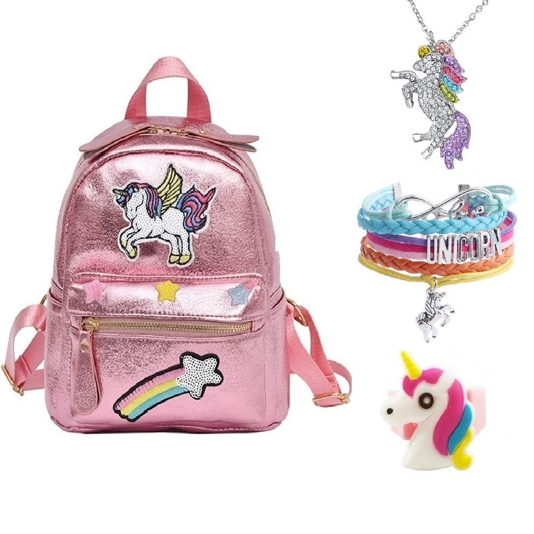 Pink Rainbow Unicorn Backpack Mini Travel Shiny Bag For Girls Leather Daypack