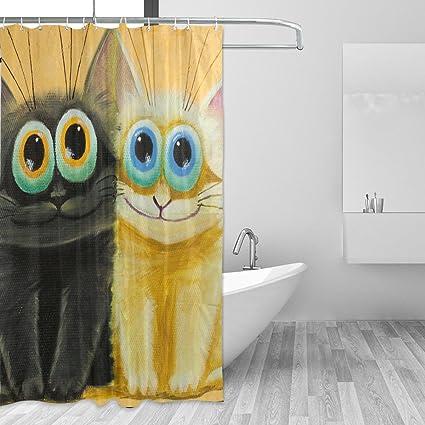 JSTEL Cortina de ducha grande de gatos blancos y negros ...