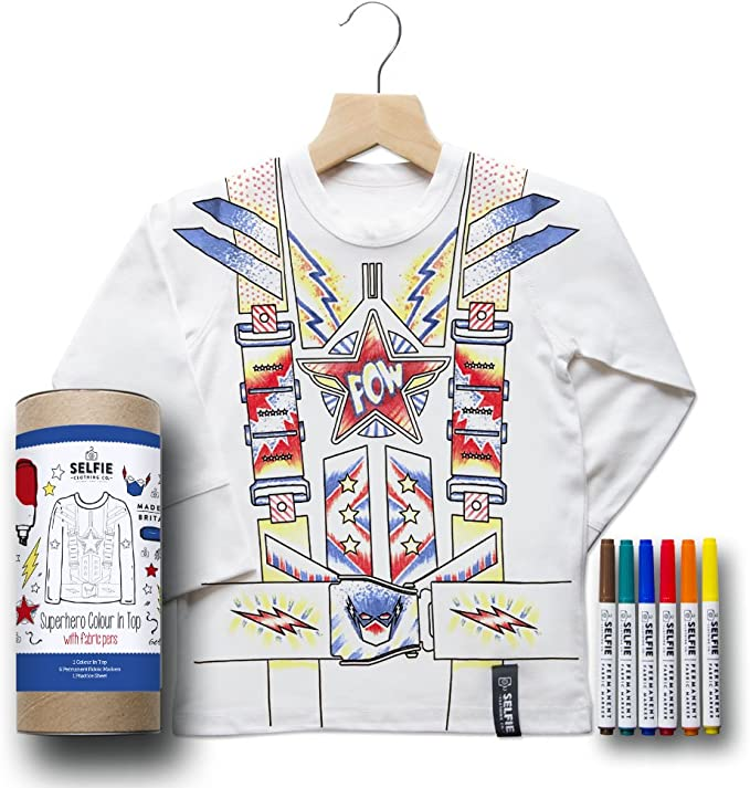Selfie Clothing Colour in Football Heroes Long Sleeved Top with Fabric Pens