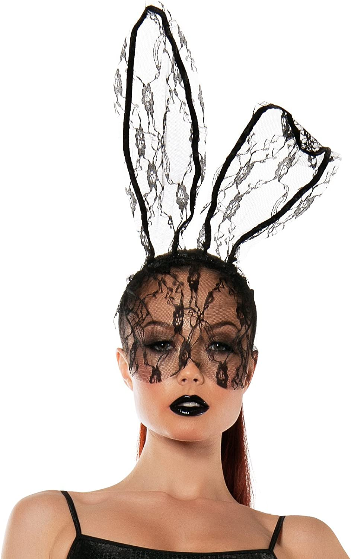 Starline Women's Lace Bunny Mask Headband Accessory Black: Clothing